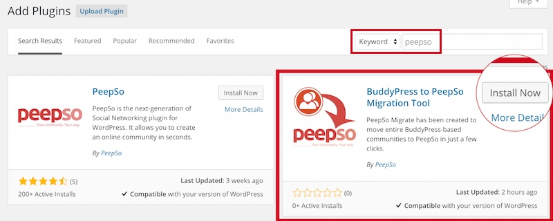 BuddyPress To PeepSo Migration Tool listing in WP plugins directory.