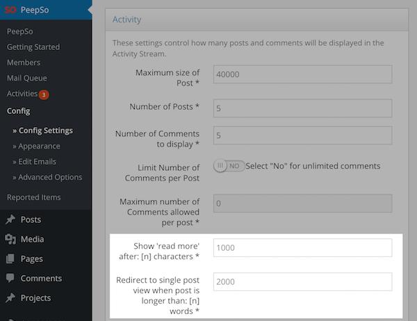 Read More settings in PeepSo Configuration.