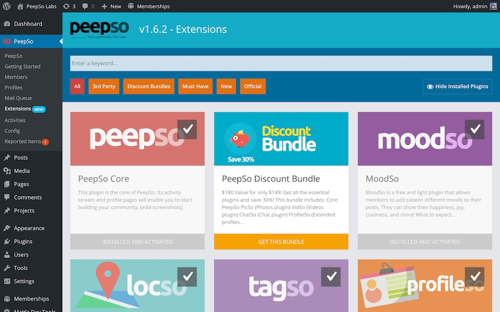 Extensions Page