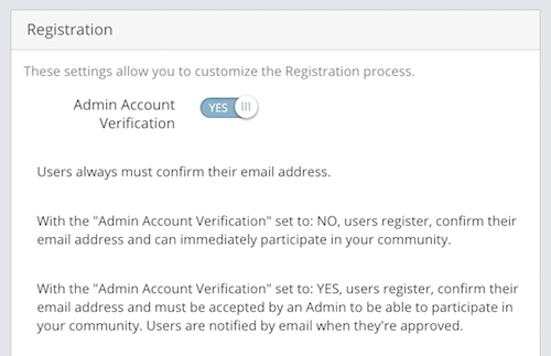 Admin Account Verification setting.