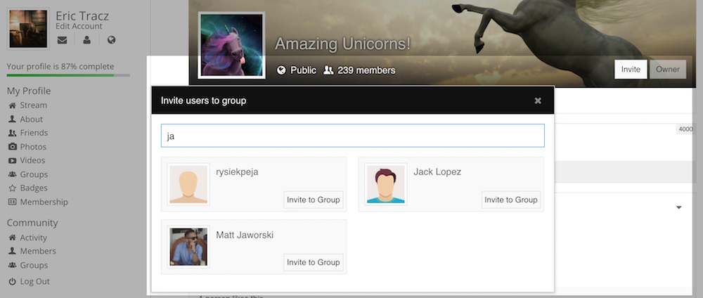 Groups Invitation Modal, with User Search