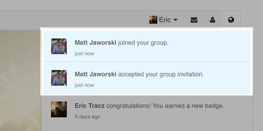 Notification about accepting group invitation and that someone joined group. The latter is sent only to group owner.