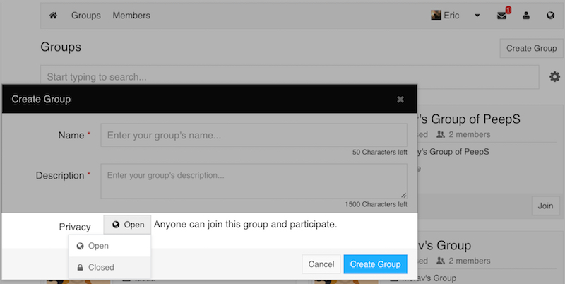 Closed Group Privacy option in Group creation modal.