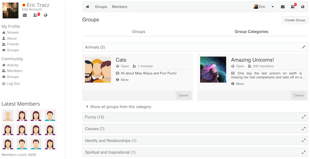 Group Categories View
