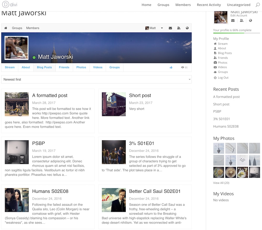 Profile view of blogposts