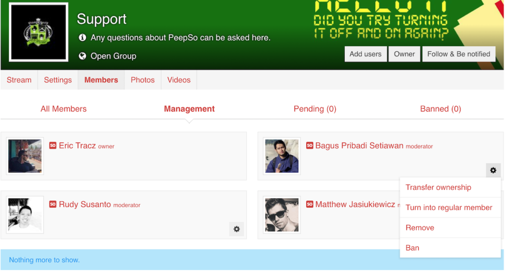 User Roles Management in Groups