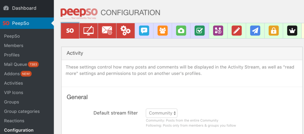 Stream default setting
