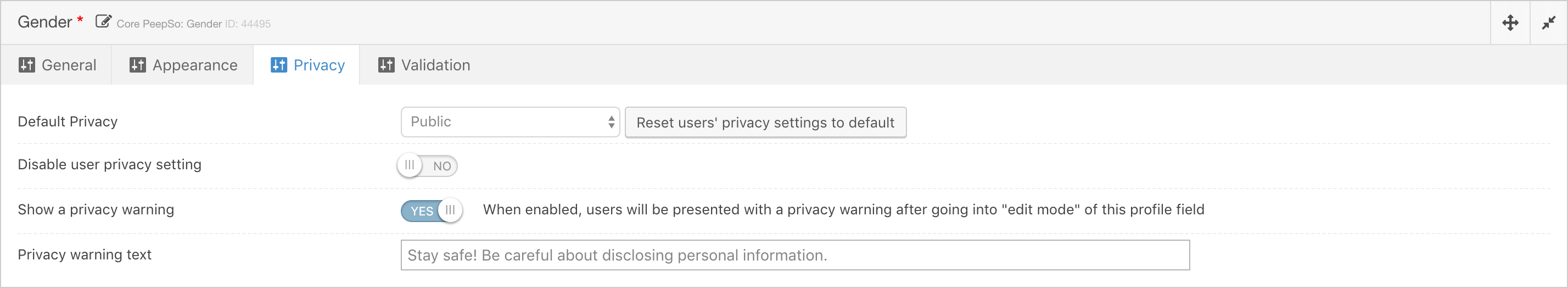 Safety Warnings On Profile Fields - Configuration