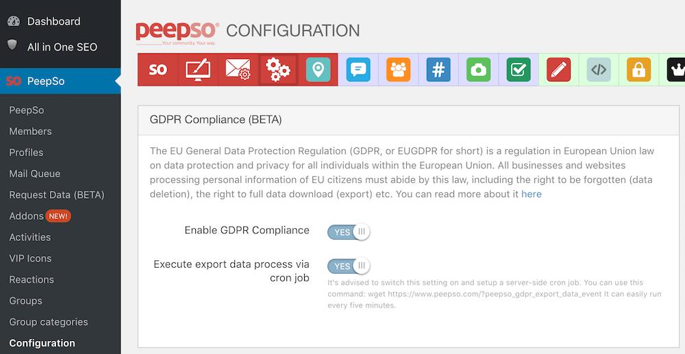 GDPR Configuration