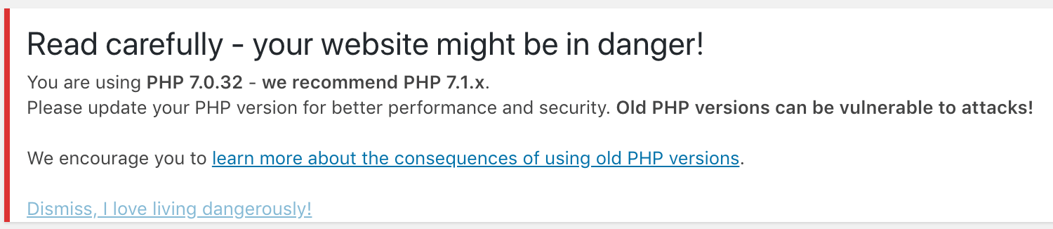 Backend warning about outdated php.