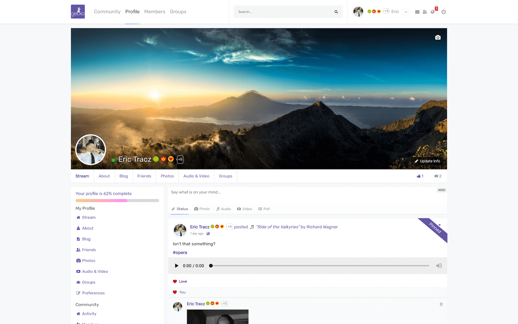 User Profile with Boxed template option.