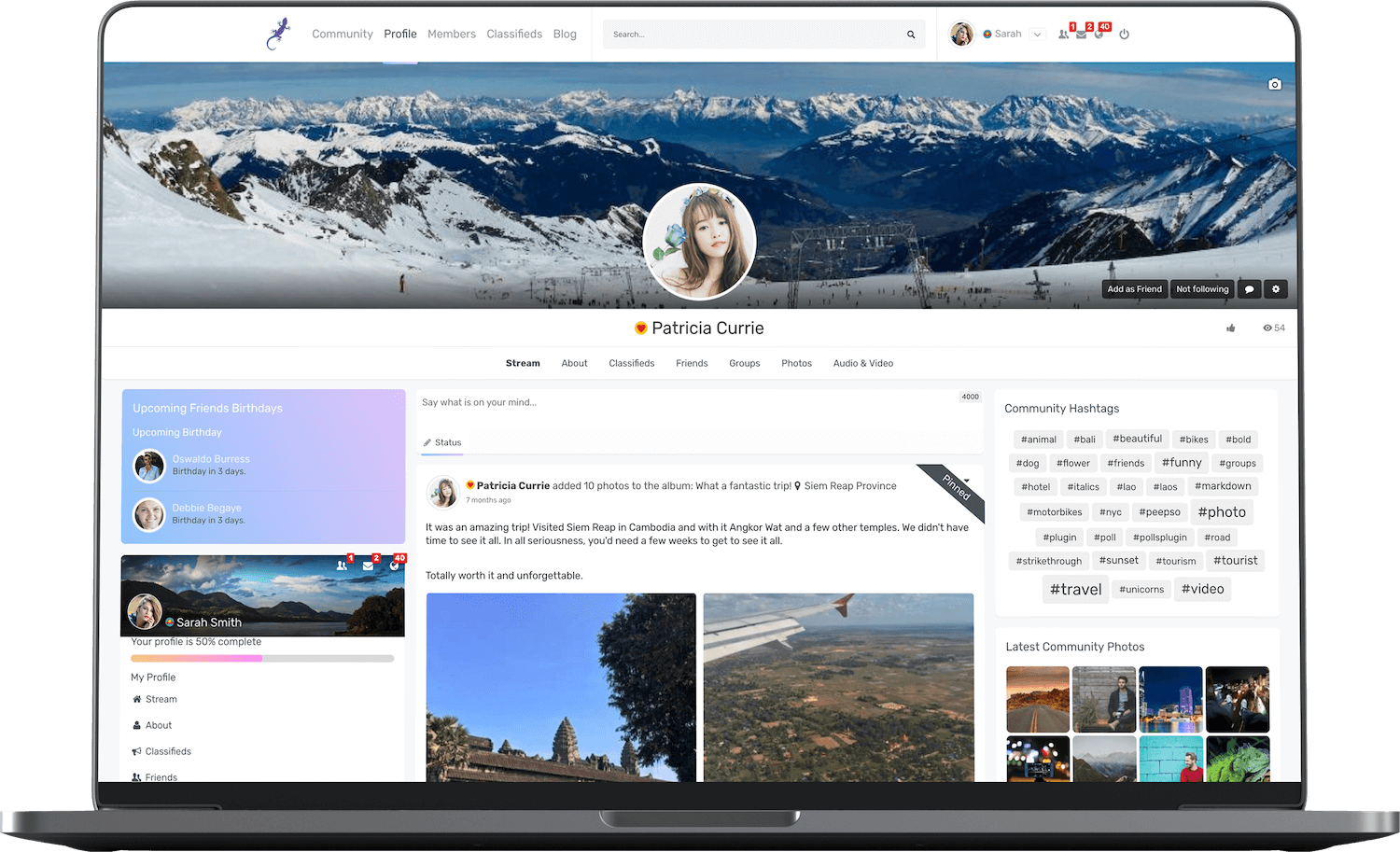 User Profiles with full width cover and centered avatar & menu