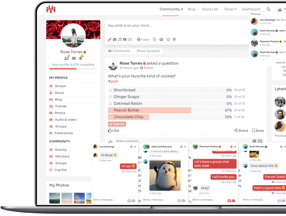 Chat windows and notifications open.