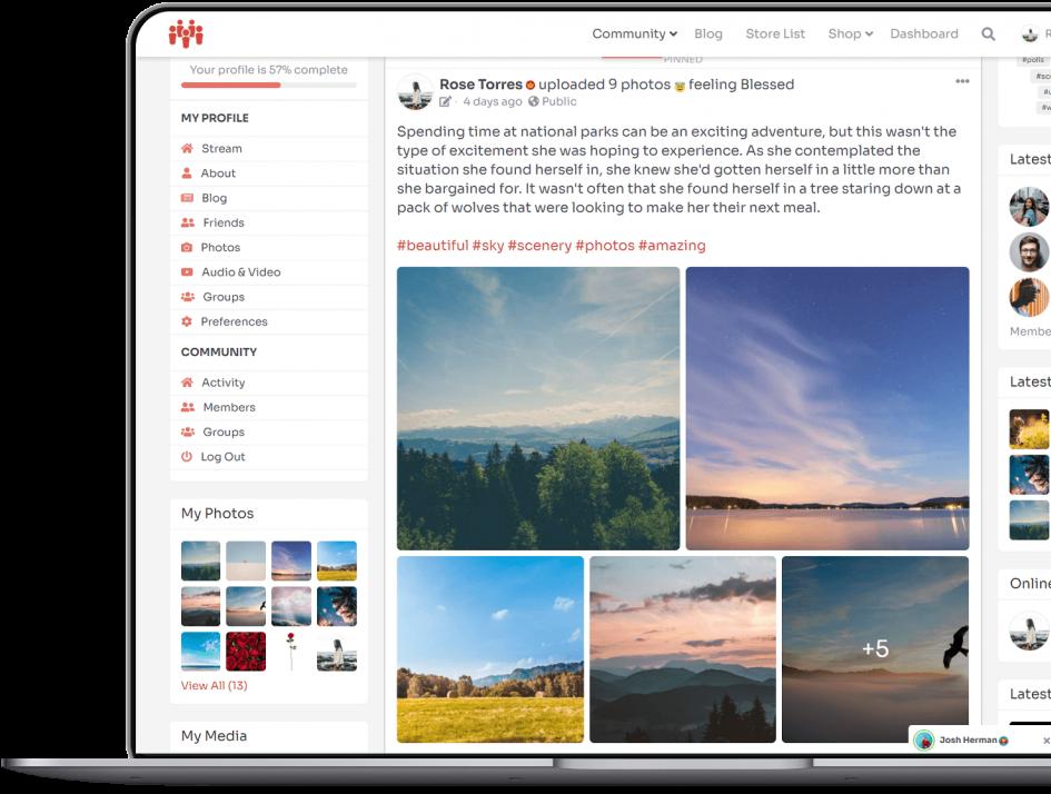 PeepSo Photos plugin showing photos in widgets and stream