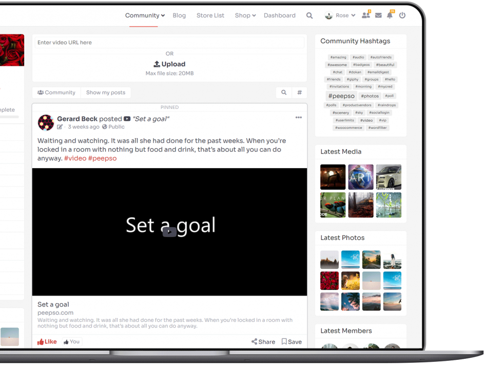 Videos can be uploaded from activity stream and profile page